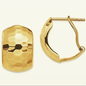 Jewelry - 14K Yellow Gold Hammer Huggie Hoops